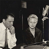 photo of Frank Sinatra and Peggy Lee working on score